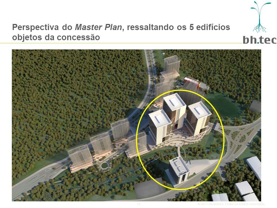 Perspectiva do Master Plan, ressaltando os 5 edifícios objetos da concessão