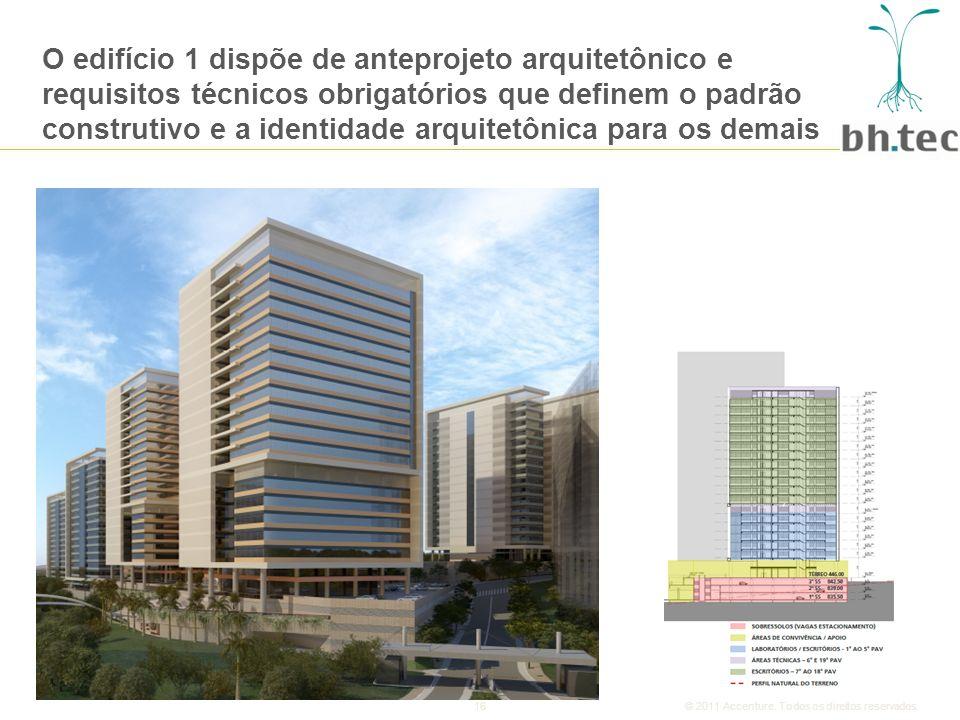 O edifício 1 dispõe de anteprojeto arquitetônico e requisitos técnicos obrigatórios que definem o padrão construtivo e a identidade arquitetônica para os demais