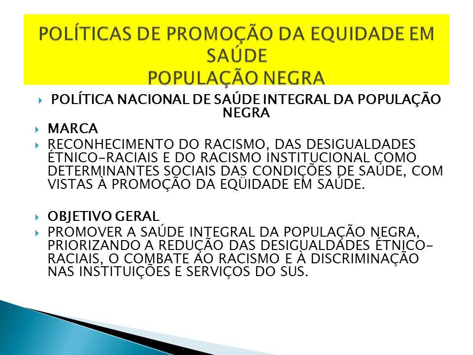 POLÍTICAS DE PROMOÇÃO DA EQUIDADE EM SAÚDE POPULAÇÃO NEGRA