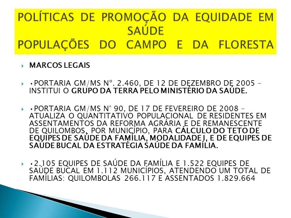 POLÍTICAS DE PROMOÇÃO DA EQUIDADE EM SAÚDE POPULAÇÕES DO CAMPO E DA FLORESTA