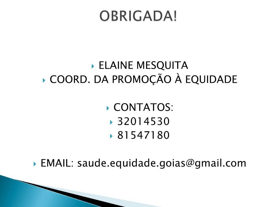 OBRIGADA! ELAINE MESQUITA COORD. DA PROMOÇÃO À EQUIDADE CONTATOS: