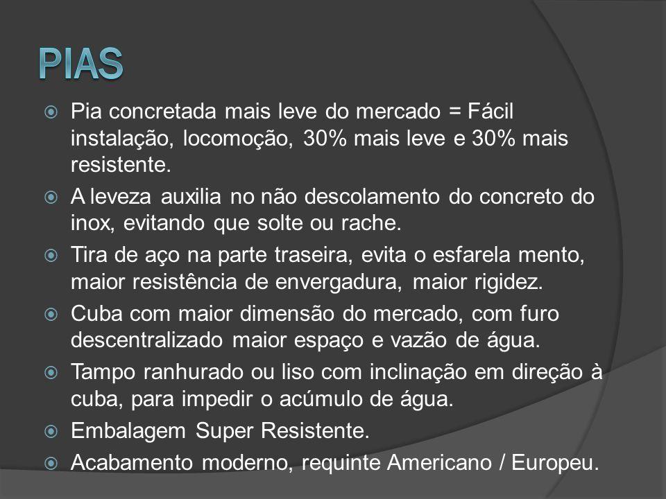 PIAS Pia concretada mais leve do mercado = Fácil instalação, locomoção, 30% mais leve e 30% mais resistente.