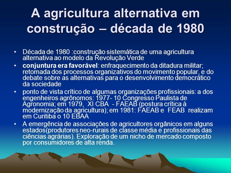 A agricultura alternativa em construção – década de 1980
