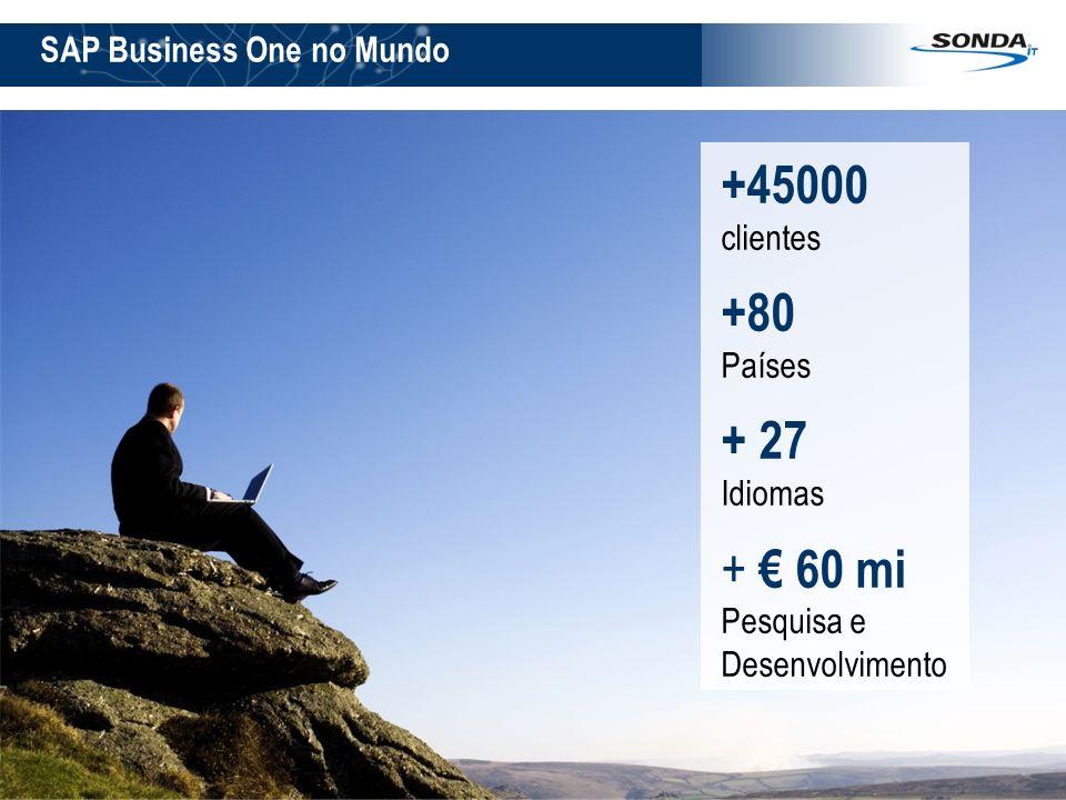 +45000 clientes +80 + 27 + € 60 mi SAP Business One no Mundo Países