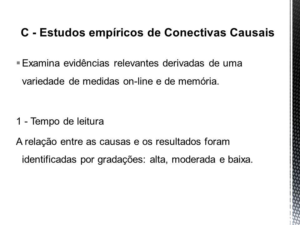C - Estudos empíricos de Conectivas Causais