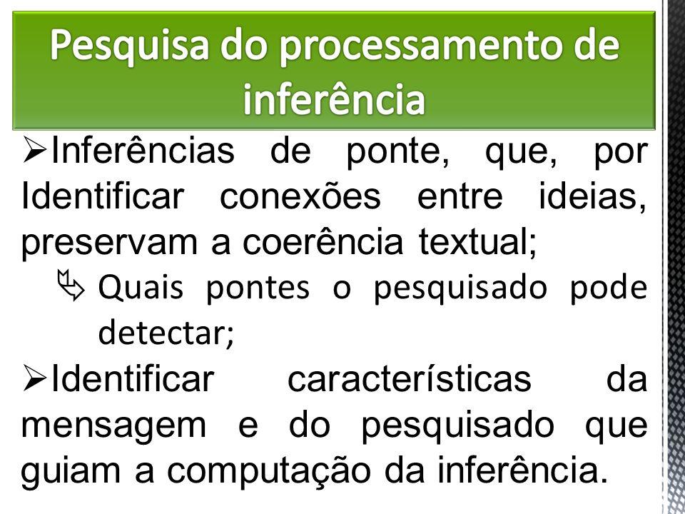 Inferências de ponte, que, por Identificar conexões entre ideias, preservam a coerência textual;