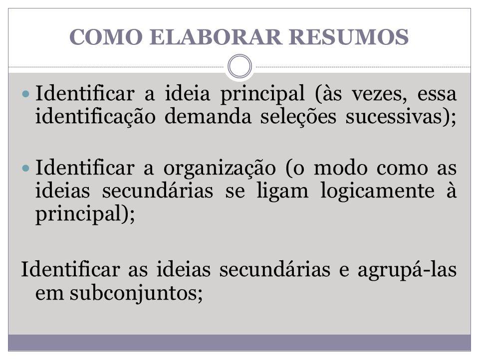 COMO ELABORAR RESUMOS Identificar a ideia principal (às vezes, essa identificação demanda seleções sucessivas);