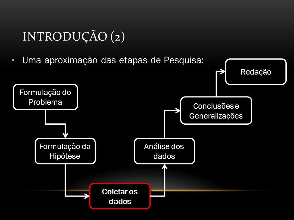 Introdução (2) Uma aproximação das etapas de Pesquisa: Redação