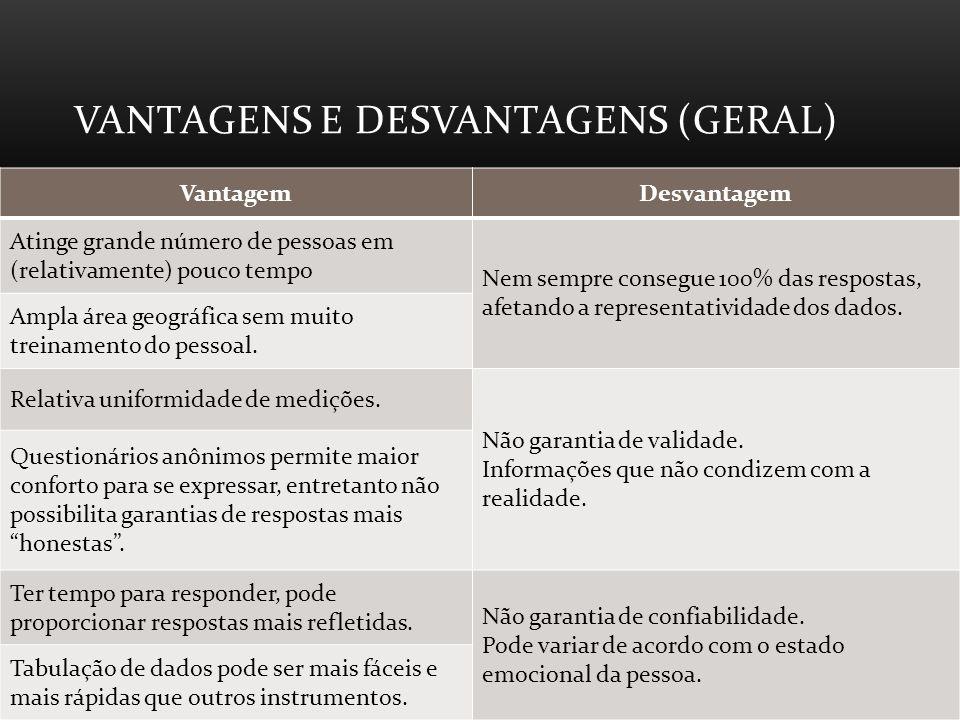 Vantagens e desvantagens (Geral)