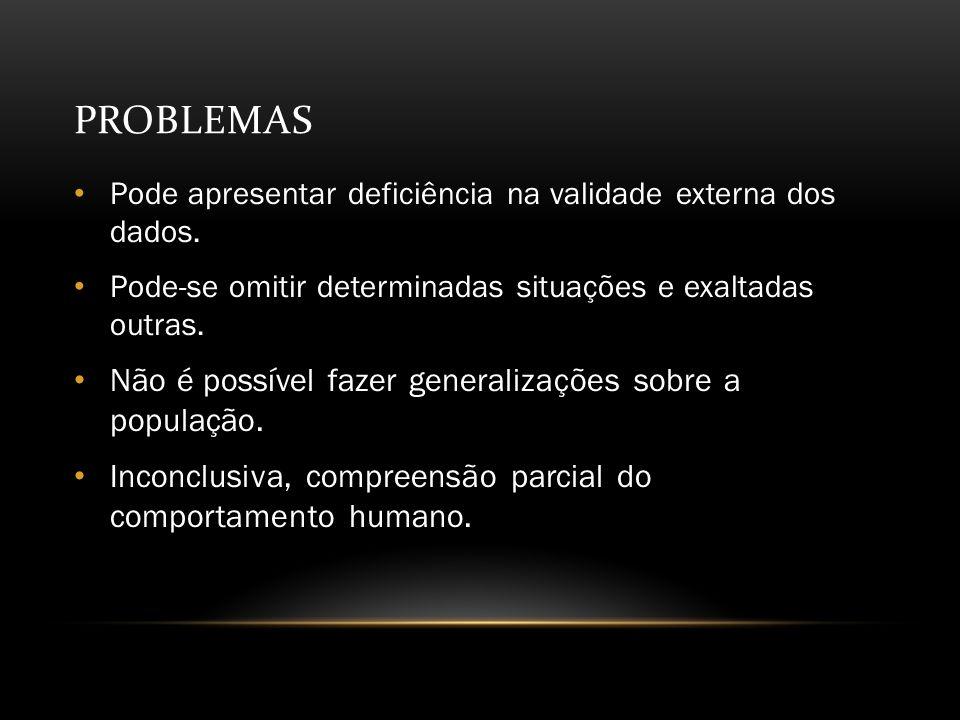 Problemas Não é possível fazer generalizações sobre a população.