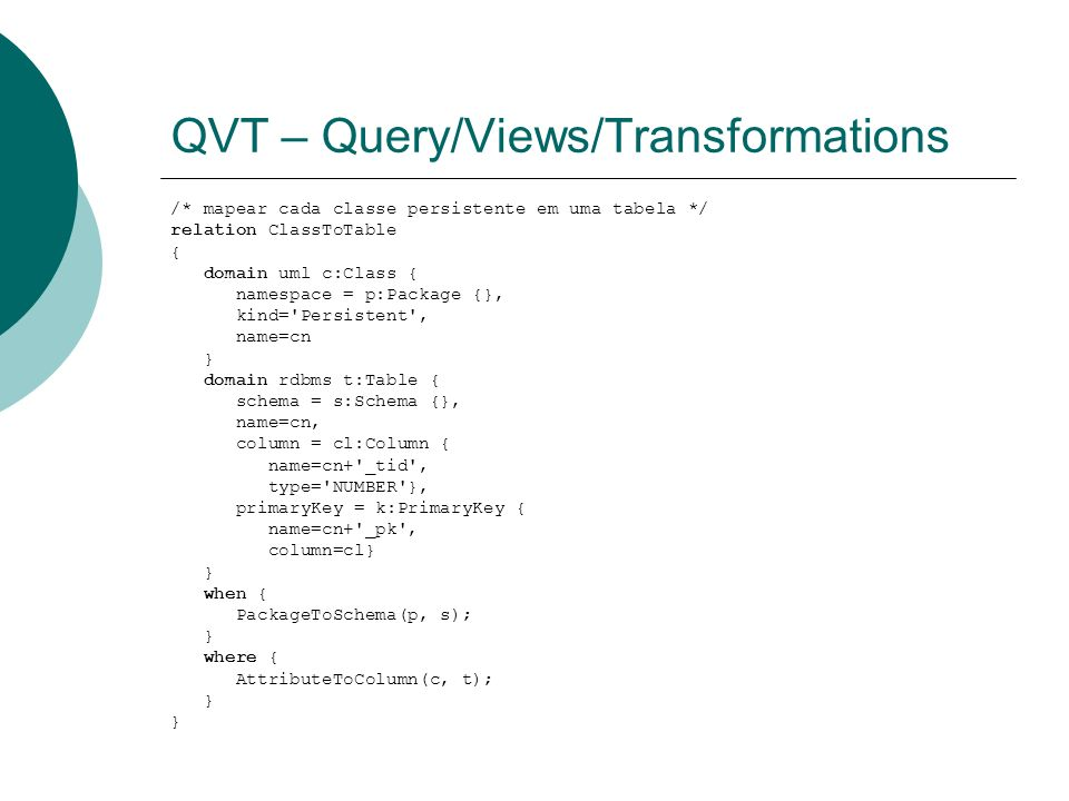 QVT – Query/Views/Transformations