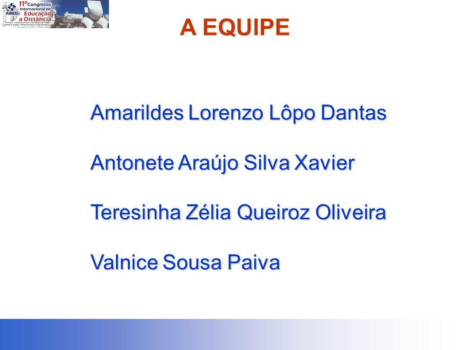 A EQUIPE Amarildes Lorenzo Lôpo Dantas Antonete Araújo Silva Xavier