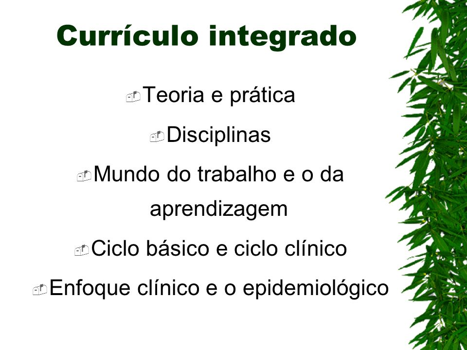 Currículo integrado Teoria e prática Disciplinas