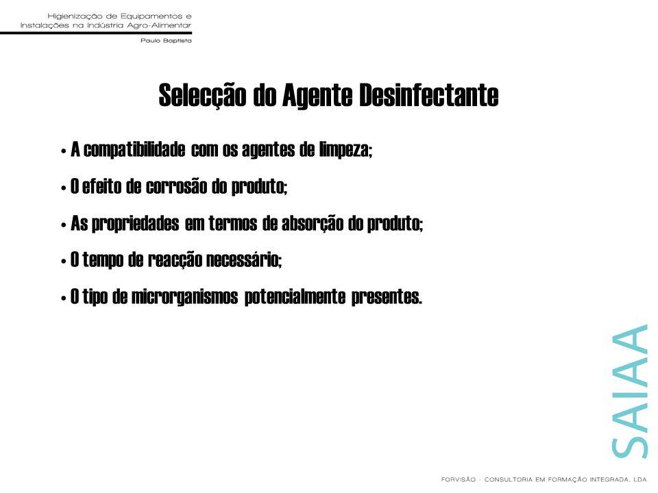 Selecção do Agente Desinfectante