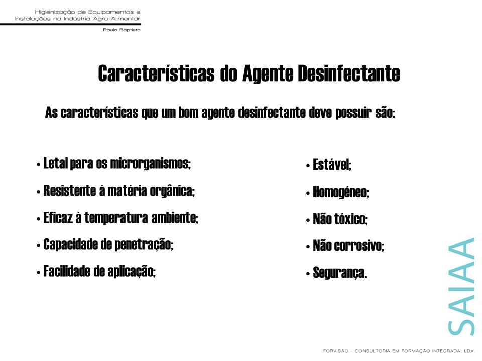 Características do Agente Desinfectante