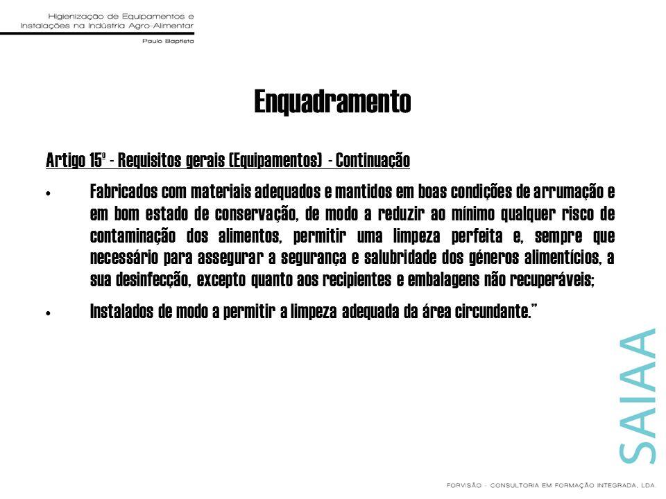 Enquadramento Artigo 15º - Requisitos gerais (Equipamentos) - Continuação.