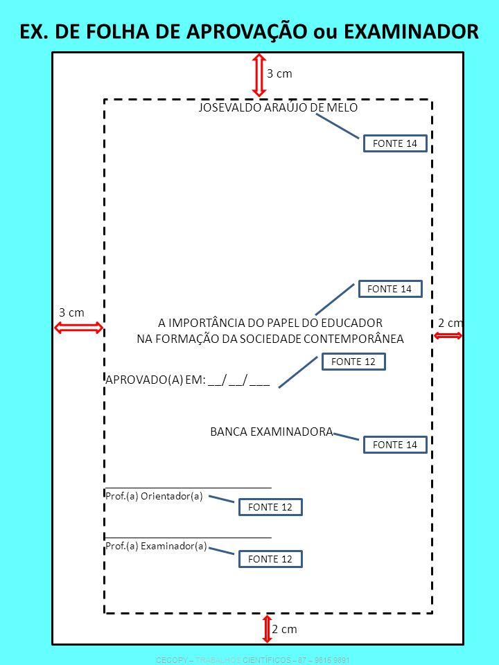 EX. DE FOLHA DE APROVAÇÃO ou EXAMINADOR