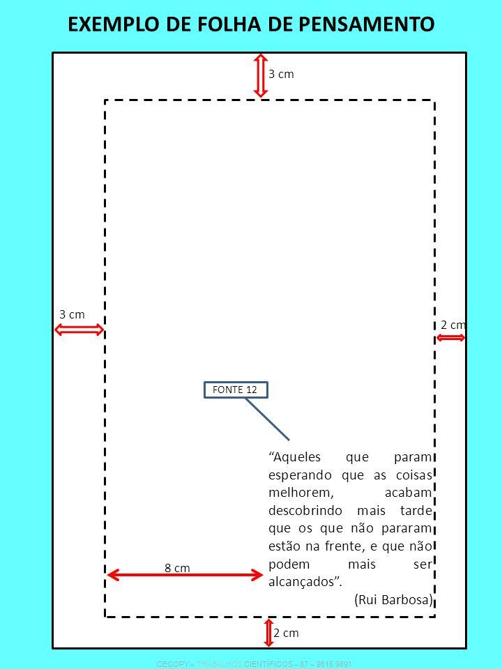 EXEMPLO DE FOLHA DE PENSAMENTO