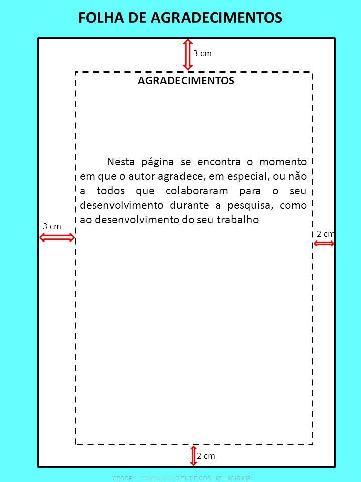FOLHA DE AGRADECIMENTOS