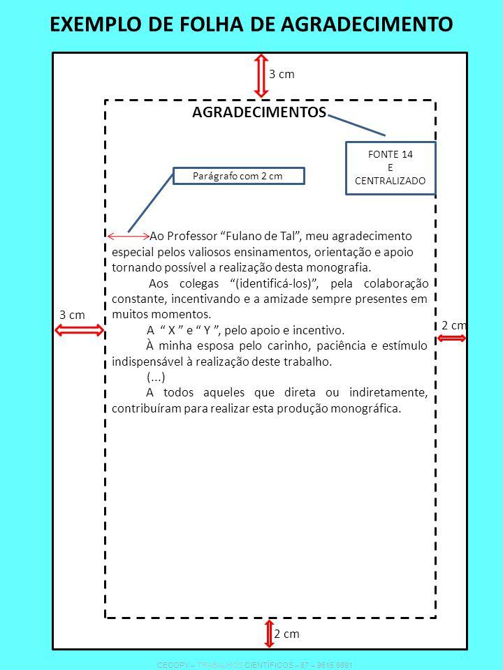 EXEMPLO DE FOLHA DE AGRADECIMENTO