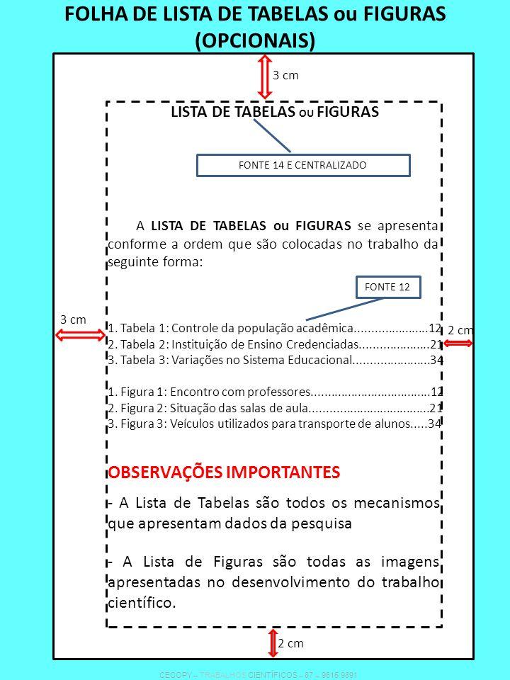 FOLHA DE LISTA DE TABELAS ou FIGURAS (OPCIONAIS)