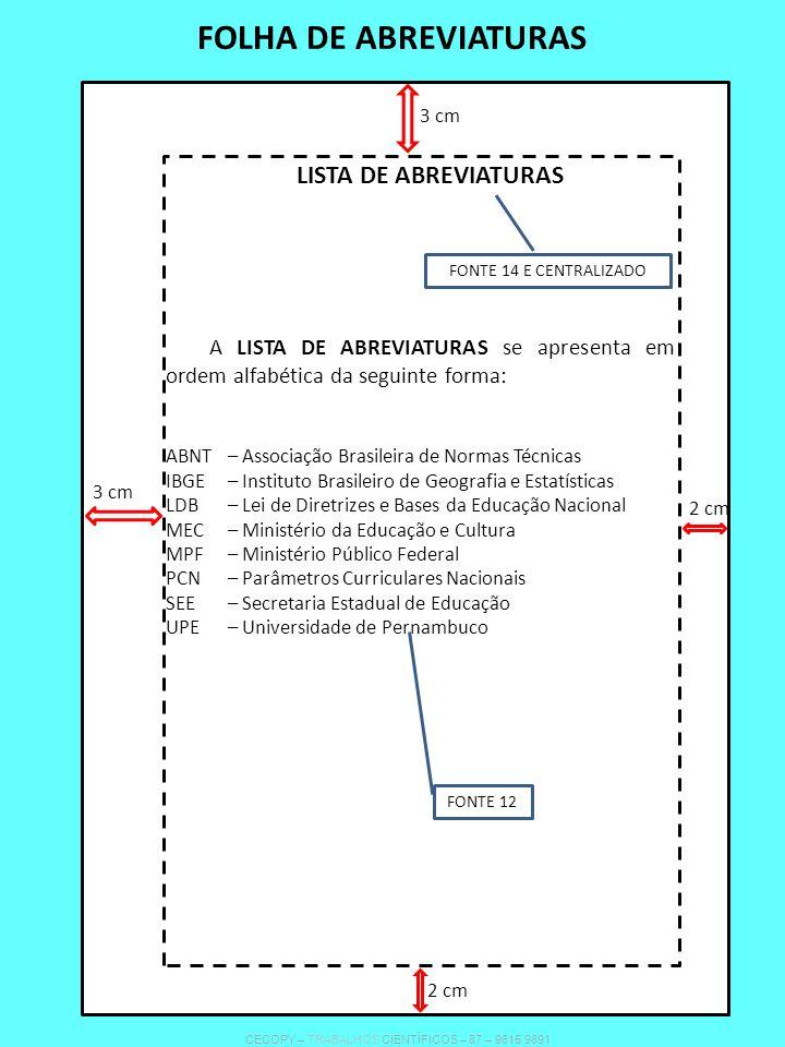 FOLHA DE ABREVIATURAS LISTA DE ABREVIATURAS