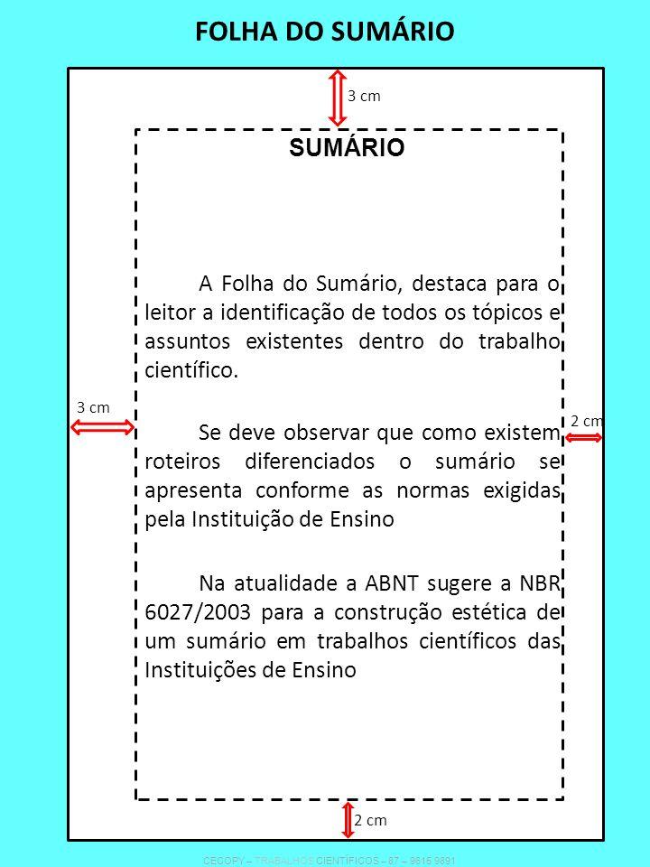 FOLHA DO SUMÁRIO SUMÁRIO