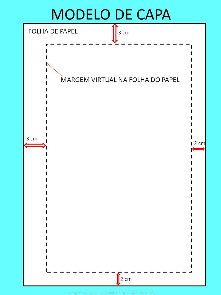 MODELO DE CAPA FOLHA DE PAPEL MARGEM VIRTUAL NA FOLHA DO PAPEL 3 cm