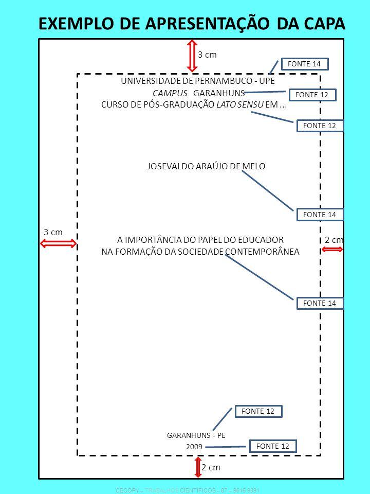 EXEMPLO DE APRESENTAÇÃO DA CAPA