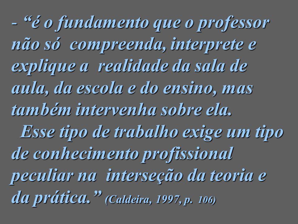 é o fundamento que o professor não só compreenda, interprete e explique a realidade da sala de aula, da escola e do ensino, mas também intervenha sobre ela.