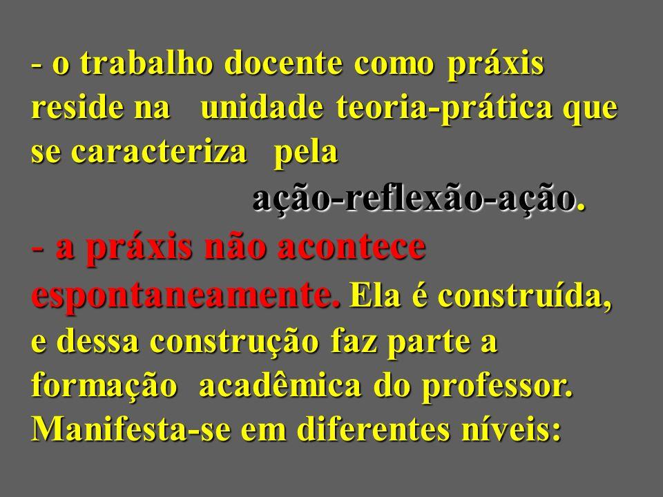 o trabalho docente como práxis reside na unidade teoria-prática que se caracteriza pela