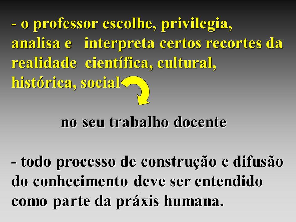 o professor escolhe, privilegia, analisa e interpreta certos recortes da realidade científica, cultural, histórica, social
