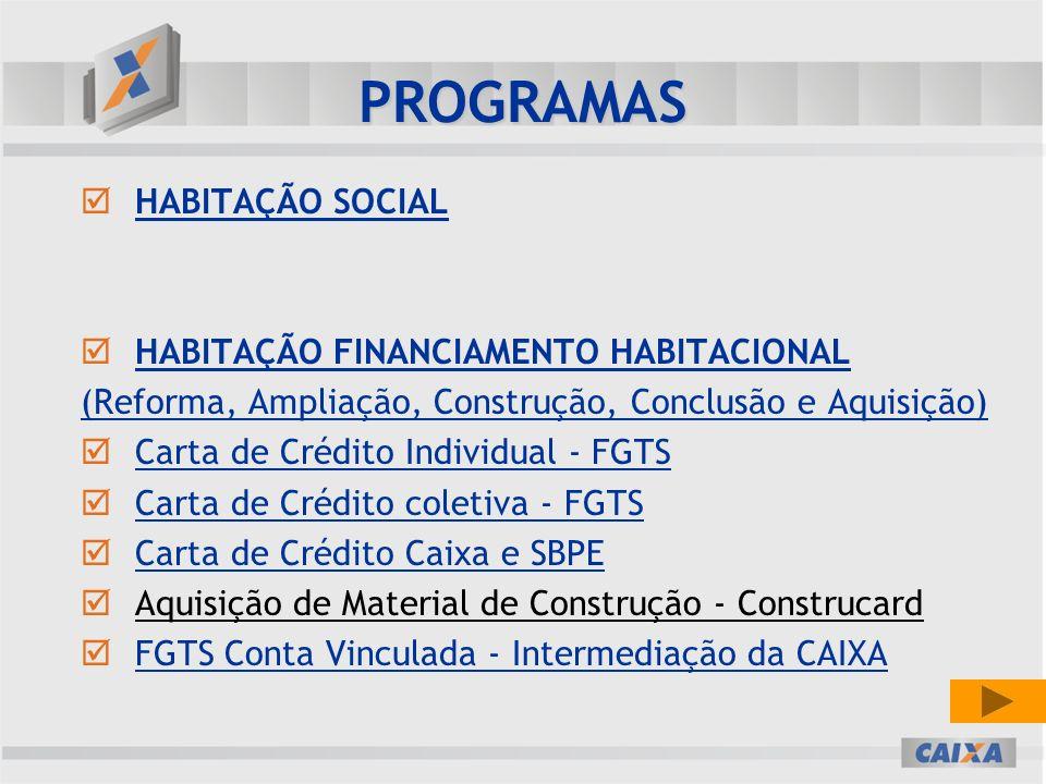 PROGRAMAS HABITAÇÃO SOCIAL HABITAÇÃO FINANCIAMENTO HABITACIONAL