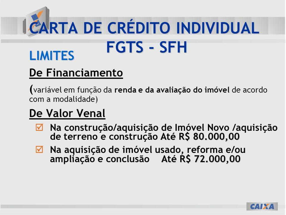 CARTA DE CRÉDITO INDIVIDUAL FGTS - SFH
