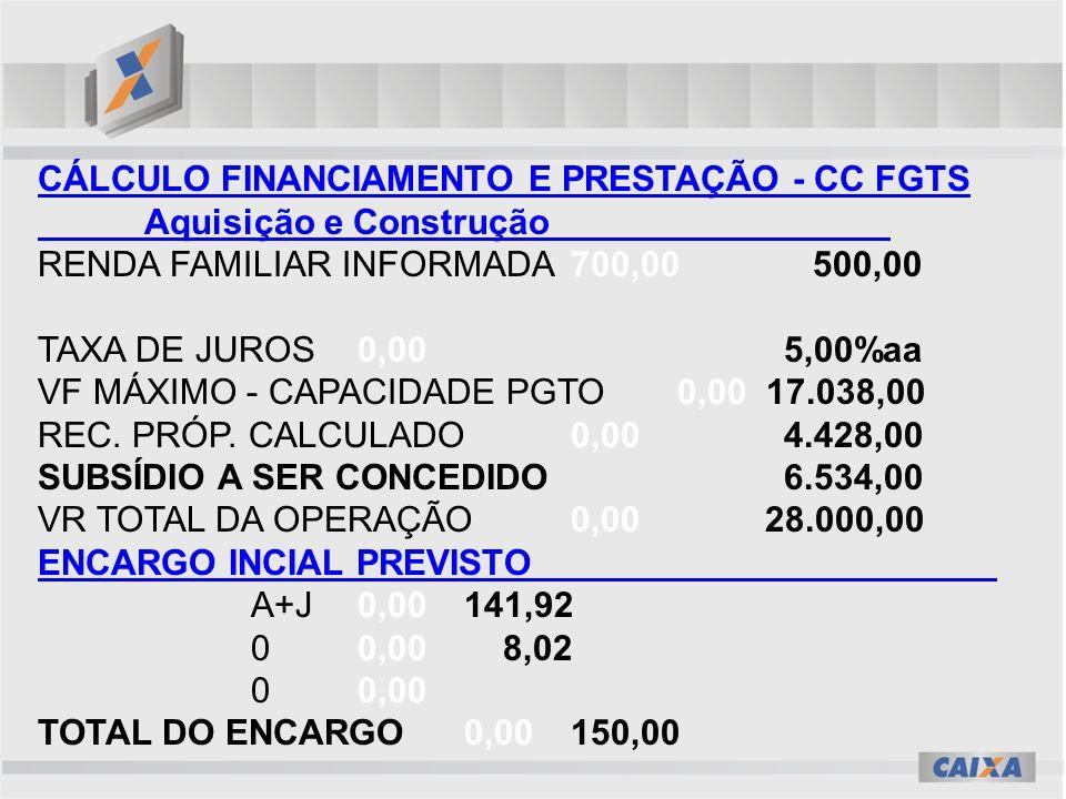 CÁLCULO FINANCIAMENTO E PRESTAÇÃO - CC FGTS Aquisição e Construção