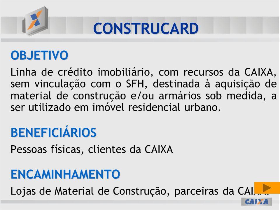 CONSTRUCARD OBJETIVO BENEFICIÁRIOS ENCAMINHAMENTO