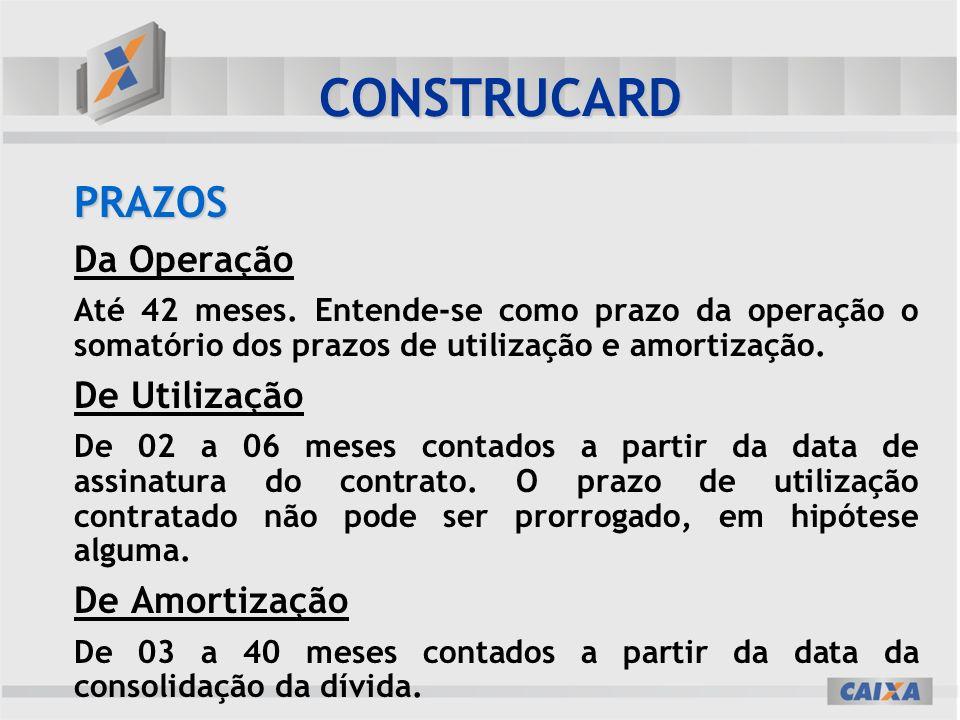 CONSTRUCARD PRAZOS Da Operação De Utilização De Amortização