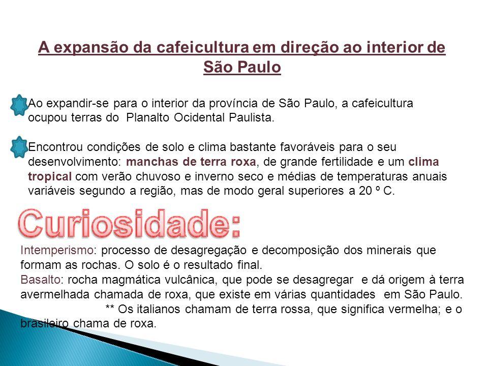 A expansão da cafeicultura em direção ao interior de São Paulo