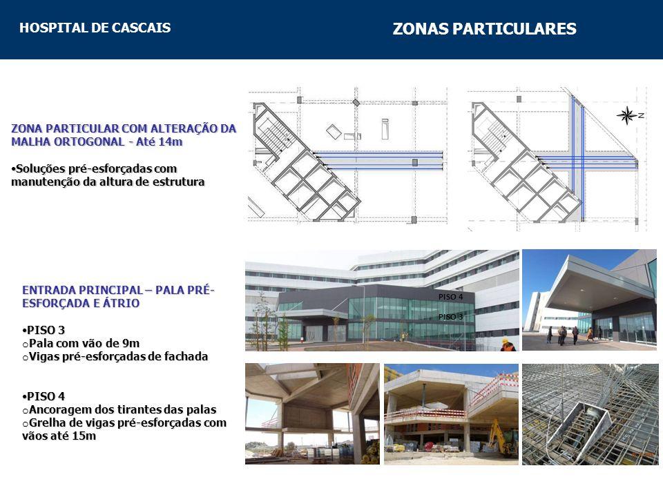 ZONAS PARTICULARES ZONA PARTICULAR COM ALTERAÇÃO DA MALHA ORTOGONAL - Até 14m. Soluções pré-esforçadas com manutenção da altura de estrutura.