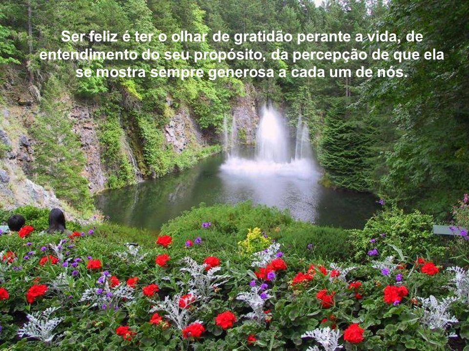 Ser feliz é ter o olhar de gratidão perante a vida, de entendimento do seu propósito, da percepção de que ela se mostra sempre generosa a cada um de nós.