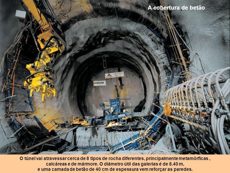 A cobertura de betão O túnel vai atravessar cerca de 8 tipos de rocha diferentes, principalmente metamórficas ,