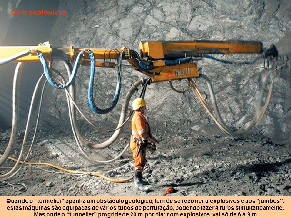Com explosivos Quando o tunnelier apanha um obstáculo geológico, tem de se recorrer a explosivos e aos jumbos :