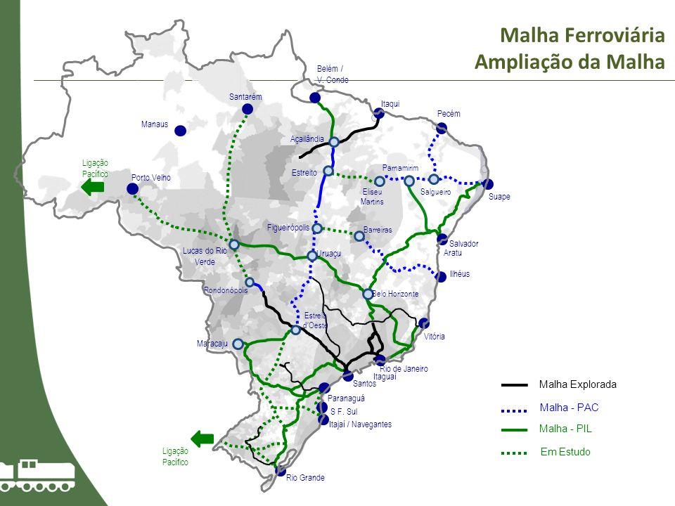 Malha Ferroviária Ampliação da Malha Malha Explorada Malha - PAC