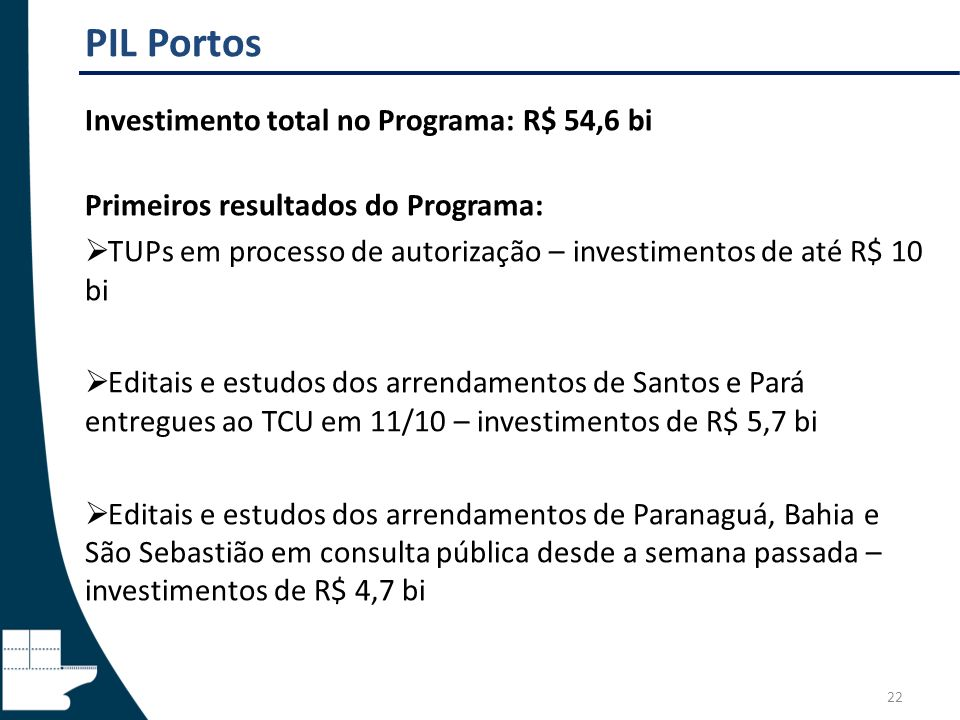 PIL Portos Investimento total no Programa: R$ 54,6 bi