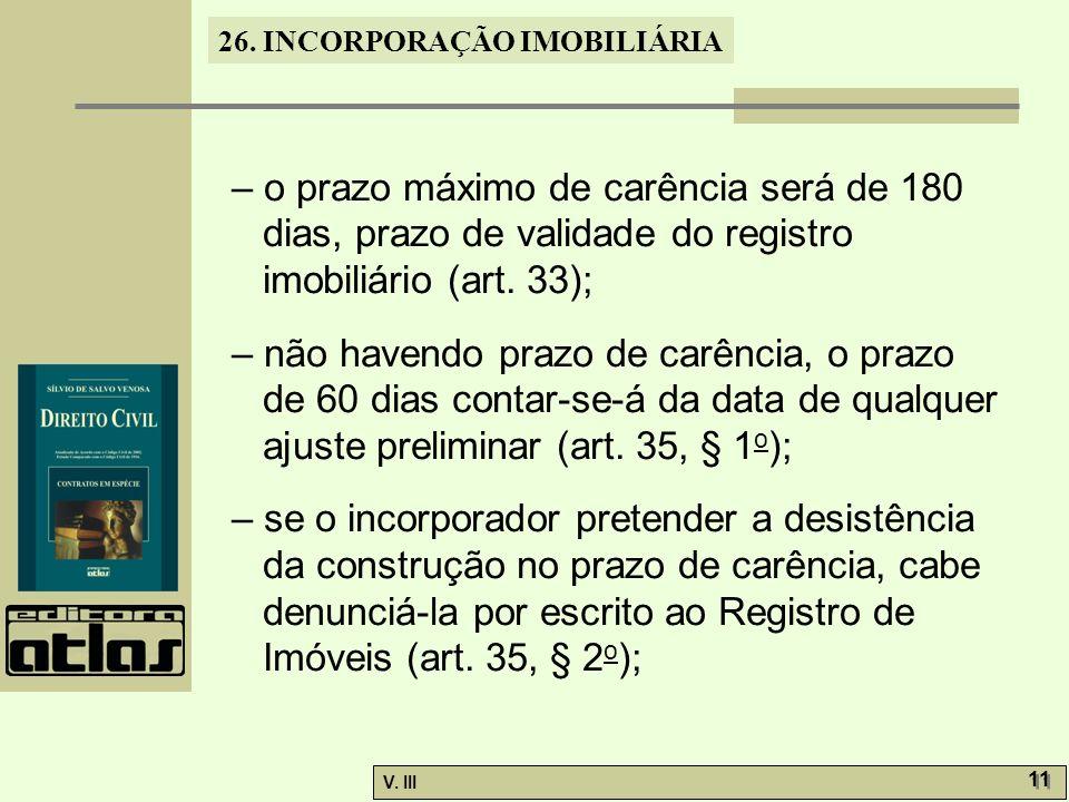 – o prazo máximo de carência será de 180 dias, prazo de validade do registro imobiliário (art. 33);