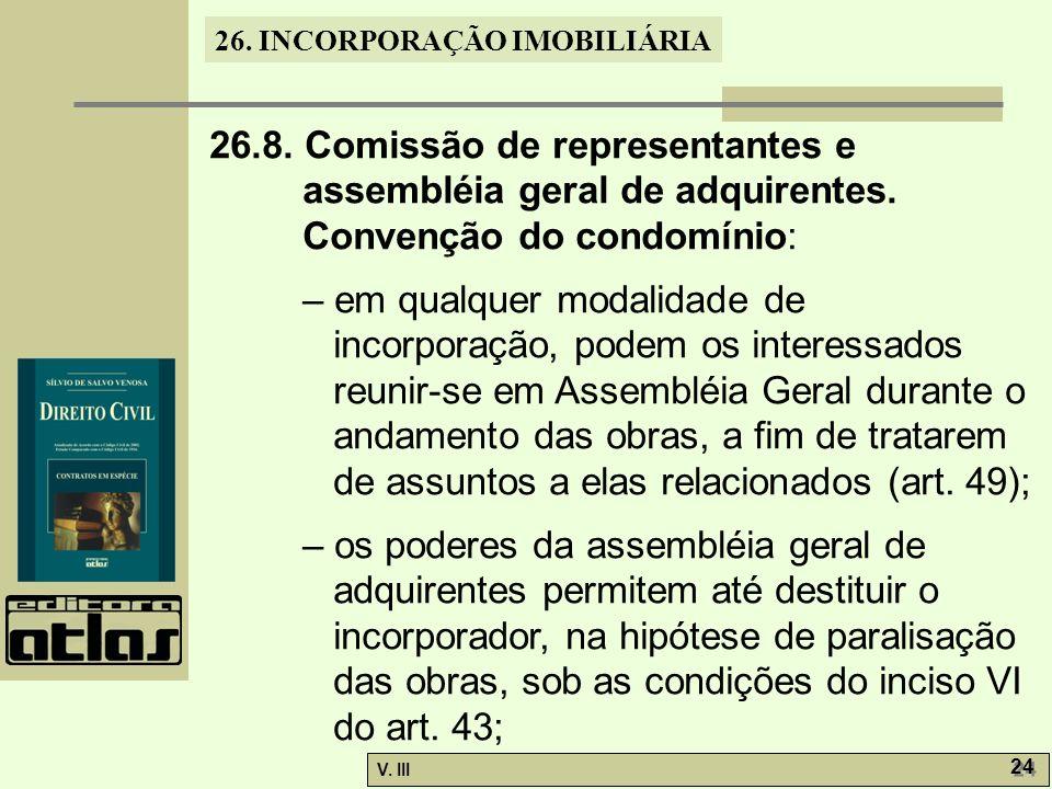 26. 8. Comissão de representantes e assembléia geral de adquirentes