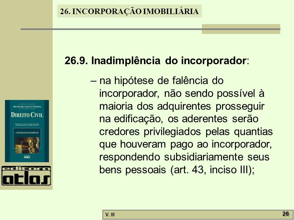 26.9. Inadimplência do incorporador:
