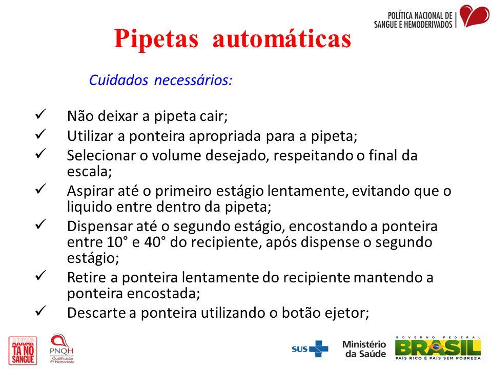 Pipetas automáticas Cuidados necessários: Não deixar a pipeta cair;