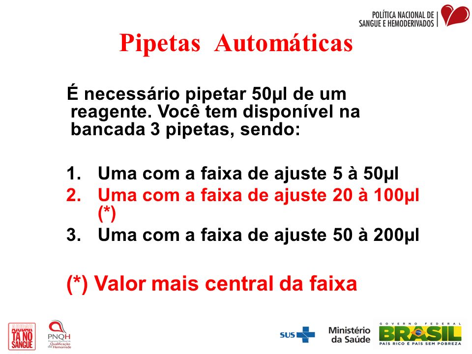 Pipetas Automáticas (*) Valor mais central da faixa