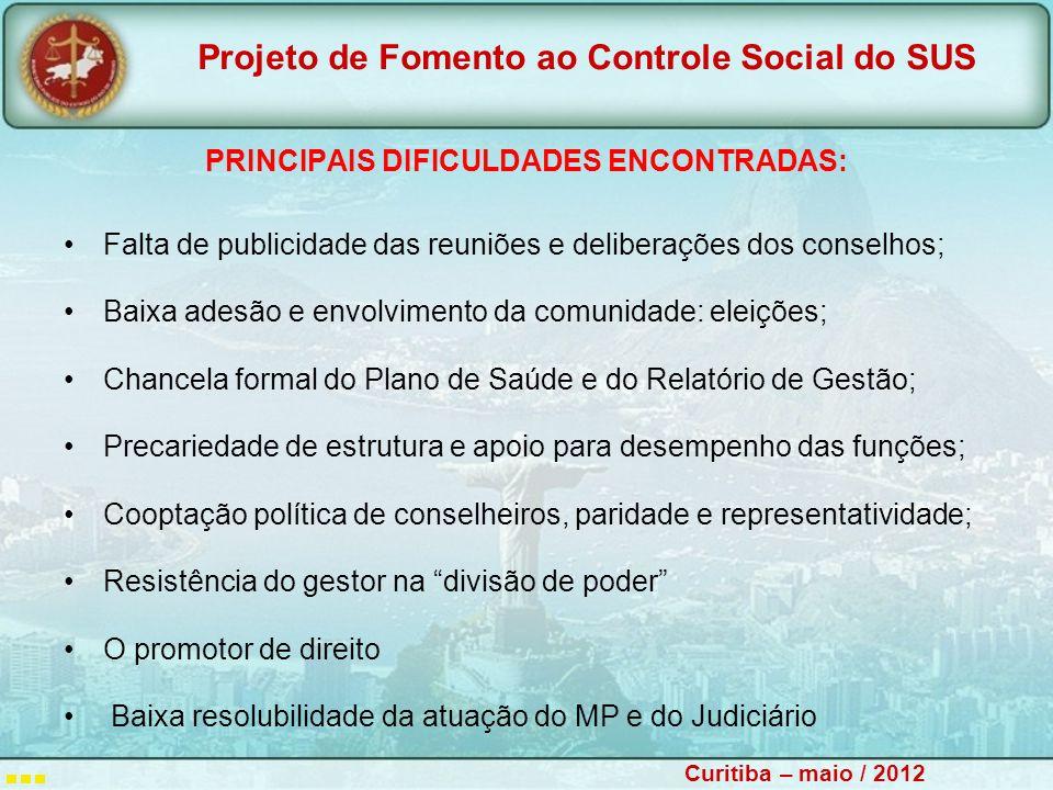 PRINCIPAIS DIFICULDADES ENCONTRADAS: